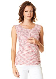 Esprit - Melange Pink Button Nursing Tank Top
