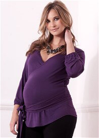 Queen Bee Ashby Purple Wrap Maternity Blouse by Trimester Clothing