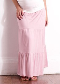 Queen Bee Florence Pink Tiered Wrap Maxi Maternity Skirt by Trimester
