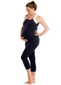 Queen Bee Ivy Maternity Active Workout Tank Top in Navy Blue by Via Privé