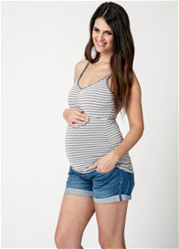 Queen Bee Silver Striped Maternity Nursing Tank by Ripe Maternity