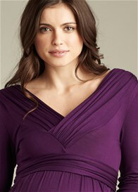 Queen Bee Purple V-Neck Ruched Maternity Dress by Maternal America