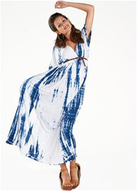 Queen Bee Dream Shakey Maternity Maxi Dress in Navy Blue Tie Dye by Fillyboo
