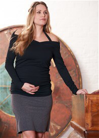 Queen Bee Evie Halter-Neck Black Maternity/Nursing Top by Floressa Clothing