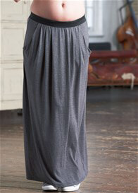 Queen Bee Zara Pocket Grey Maxi Maternity Skirt by Floressa Clothing