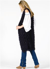 Queen Bee Stay Gold Long Maternity Knit Vest in Navy Blue by Fillyboo