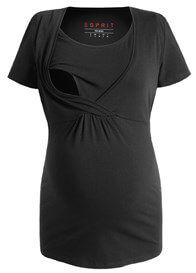 Queen Bee Short Sleeve Maternity Nursing Top in Black by Esprit