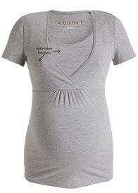 Queen Bee Short Sleeve Maternity Nursing Top in Grey by Esprit