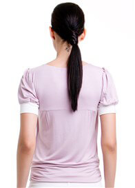 Queen Bee Slate Short Sleeve Nursing Top in Lilac by Dote Nursingwear