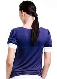 Queen Bee Slate Short Sleeve Nursing Top in Navy by Dote Nursingwear