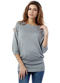 Queen Bee Alexia Bamboo Grey Maternity/Nursing Knit Jumper by Seraphine