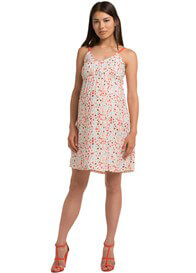 Queen Bee Hot Coral Print Maternity Cami Dress by Esprit