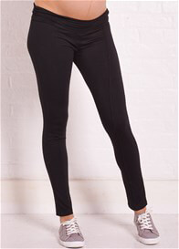 Queen Bee Finlay Piped Black Maternity Leggings by Trimester Clothing