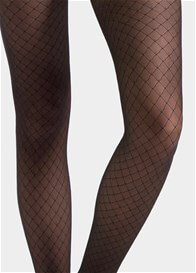 Queen Bee Black Fishnet Print Sheer Maternity Pantyhose by Blanqi