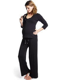 Queen Bee Harmony Black 3/4 Sleeve Maternity Nursing Top by HOTmilk