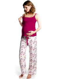 Queen Bee Harmony Cream Bird Print Maternity PJ Pants by HOTmilk