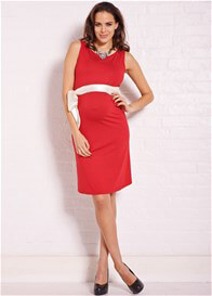 Queen Bee Riley Maternity Shift Dress in Red by Trimester Clothing