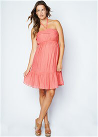 Queen Bee Peach Halter Maternity Sun Dress by Maternal America
