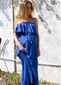 Queen Bee Little Wonder Blue Strapless Maternity Maxi Dress by Fillyboo