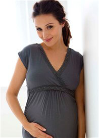 Queen Bee Ruffle Maternity/Nursing Dress in Gunmetal by Belabumbum