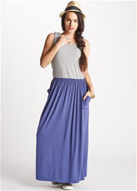 Queen Bee Ayanna Grey/Blue Breastfeeding Maxi Dress by Floressa