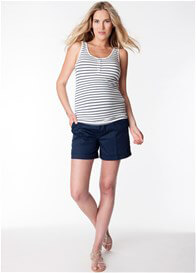 Queen Bee Blue Striped Bamboo Maternity Nursing Tank Top by Seraphine