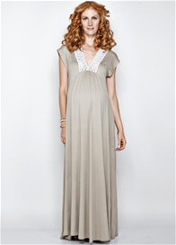 Queen Bee Savannah Maternity Maxi Dress in Stone by Imanimo