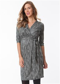Queen Bee Black/White Cross-Hatch Print Maternity Dress by Seraphine