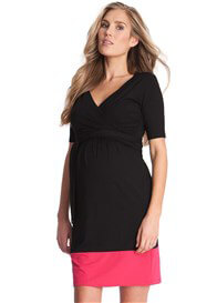 Queen Bee Border Hem Maternity Nursing Dress in Black/Pink by Seraphine
