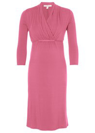 Queen Bee Creamy Berry Pink Maternity Nursing Dress by Esprit