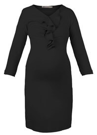 Queen Bee Ruffle Front Maternity Dress in Black by Queen mum