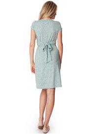 Queen Bee Sage Green Polkadot Front Knot Maternity Dress by Seraphine