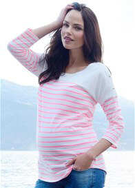 Queen Bee Pink Striped Cotton Maternity Nursing Top by Seraphine