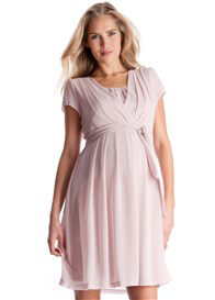 Queen Bee Chiffon Maternity Nursing Dress in Blush Pink by Seraphine