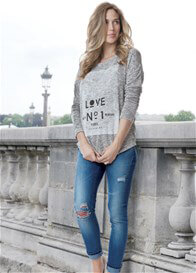 Queen Bee Love No 1 Grey Knit Maternity Sweater by Seraphine