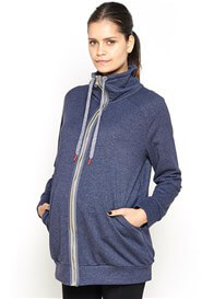 Queen Bee Piper Zip Maternity Sweatshirt in Navy Blue by Imanimo