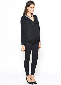 Queen Bee Lexy Long Sleeve Maternity Blouse in Black by Imanimo