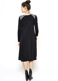 Queen Bee Khloe Maternity Swing Dress in Black by Imanimo