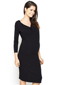 Queen Bee Genna Cowl Neck Maternity Dress in Black by Imanimo