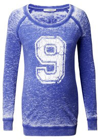 Queen Bee Number 9 Maternity Sweat Shirt in Blue by Supermom