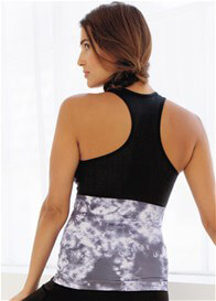 Queen Bee Maternity Nursing Racerback Active Tank in Black Tie Dye by Belabumbum