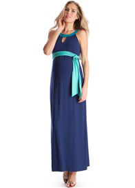 Queen Bee Lovely Blue Cut-Out Neckline Maternity Maxi Dress by Seraphine