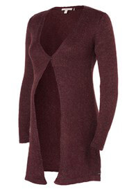 Queen Bee Mohair Blend Maternity Knit Cardigan in Burgundy by Esprit