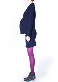 Queen Bee Powder Maternity Sweater in Blue Print by Paula Janz