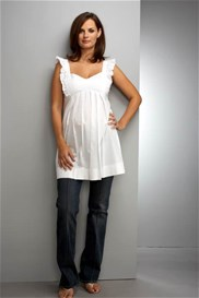 Queen Bee White Frill Maternity Top by Maternal America