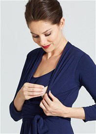 Queen Bee Theory Twist Front Maternity Nursing Dress in Navy by Milky Way