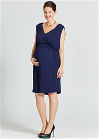 Queen Bee Rivers Draped Maternity Nursing Dress in Navy Blue by Milky Way