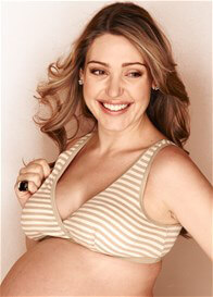 Queen Bee Jamila Beige Stripe Maternity Nursing Sleep Bra by QueenBee