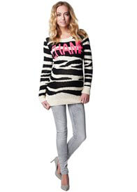 Queen Bee Champ Maternity Knit Pullover in Zebra Print by Supermom