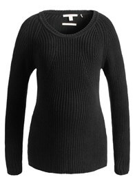 Queen Bee Chunky Ribbed Knit Maternity Sweater in Black by Esprit